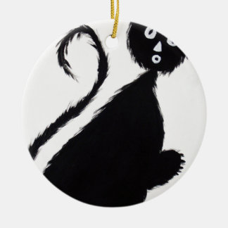 Ornamento De Cerâmica Gato Startled