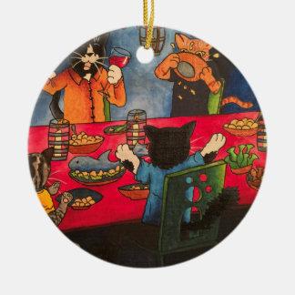 Ornamento De Cerâmica Gatos do banquete da noite