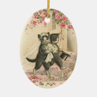Ornamento De Cerâmica Gatos do casamento,