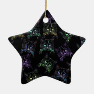 Ornamento De Cerâmica Gatos legal no preto! gatos Multi-coloridos