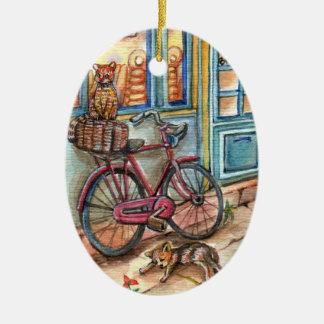 Ornamento De Cerâmica Gatos na frente da padaria