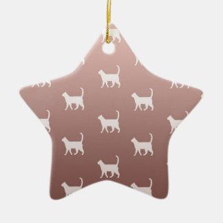 Ornamento De Cerâmica Gatos no ouro cor-de-rosa