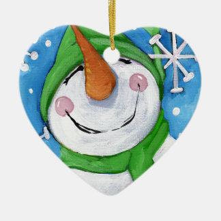 Ornamento De Cerâmica Gelado o boneco de neve feliz