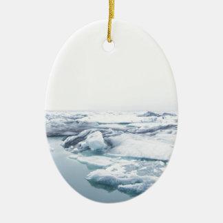 Ornamento De Cerâmica Geleiras de Islândia - branco