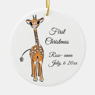 Ornamento De Cerâmica Girafa do bebê - monogrammed