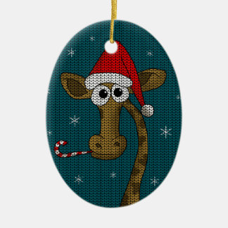 Ornamento De Cerâmica Girafa do Natal