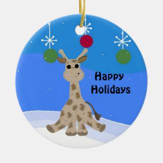 Ornamento De Cerâmica Girafa legal boas festas
