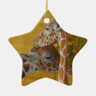 Ornamento De Cerâmica Girafas doces - pintura