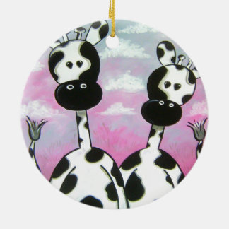 Ornamento De Cerâmica Giraffees dois Zazzle