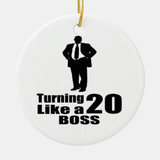 Ornamento De Cerâmica Girando 20 como um chefe