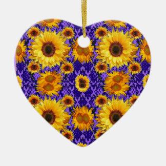 Ornamento De Cerâmica Girassóis amarelos em presentes Amethyst da cor