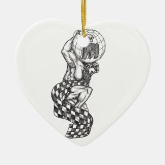 Ornamento De Cerâmica Globo de levantamento do atlas que compete o