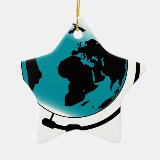Ornamento De Cerâmica Globo montado no giro de giro