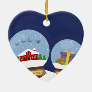 Ornamento De Cerâmica Globos da neve do Natal e presente de Papai Noel