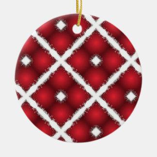 Ornamento De Cerâmica Globos vermelhos, teste padrão retro dos Rhombuses
