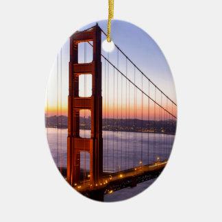 Ornamento De Cerâmica Golden gate bridge San Francisco no nascer do sol