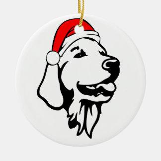 Ornamento De Cerâmica Golden_Retriever_Dog com o chapéu do papai noel do