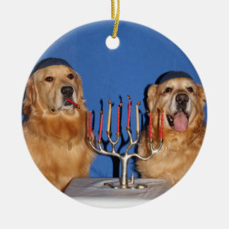 Ornamento De Cerâmica Golden retriever Hanukkah Menorah