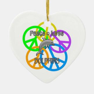 Ornamento De Cerâmica Golfinhos do amor da paz