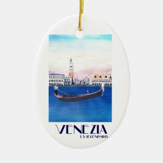 Ornamento De Cerâmica Gôndola de Veneza Italia no canal grande com San
