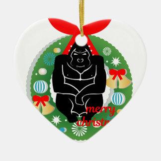 Ornamento De Cerâmica gorila do Feliz Natal