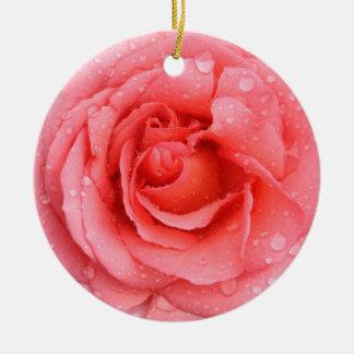 Ornamento De Cerâmica Gotas cor-de-rosa vermelhas românticas da água
