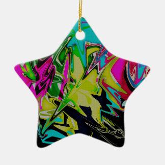 Ornamento De Cerâmica Gotejamento derretido abstrato da cor da