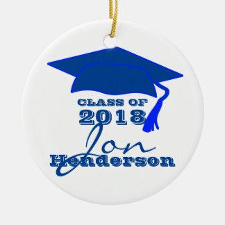 Ornamento De Cerâmica Graduação azul e branca personalizada