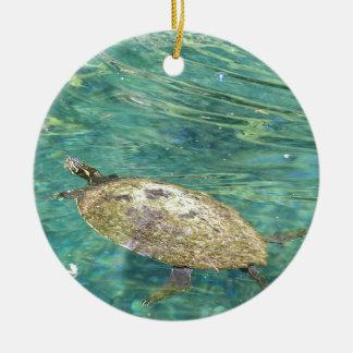 Ornamento De Cerâmica grande natação da tartaruga do rio