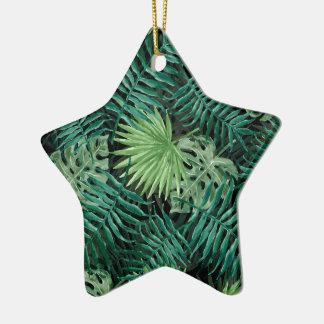 Ornamento De Cerâmica Grande palma de samambaia verde e plantas