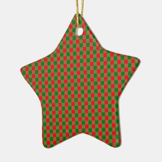 Ornamento De Cerâmica Grande Tartan vermelho e verde da verificação do