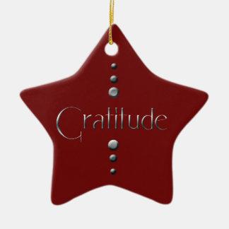 Ornamento De Cerâmica Gratitude do bloco de 3 pontos & fundo de prata de