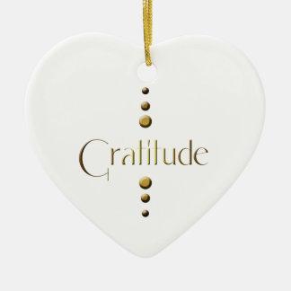 Ornamento De Cerâmica Gratitude do bloco do ouro de 3 pontos