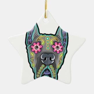 Ornamento De Cerâmica Great dane - edição colhida da orelha - dia do th