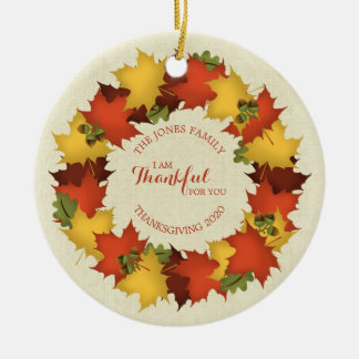 Ornamento De Cerâmica Grinalda da acção de graças das folhas de outono
