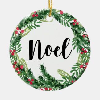 Ornamento De Cerâmica Grinalda da aguarela do Natal