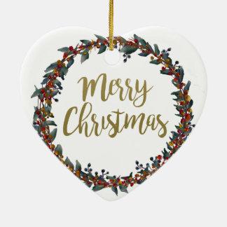 Ornamento De Cerâmica Grinalda da aguarela - Feliz Natal - ramos