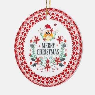 Ornamento De Cerâmica Grinalda da coruja da tipografia & do Natal do