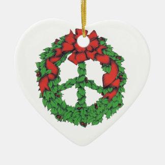 Ornamento De Cerâmica Grinalda da paz do feriado