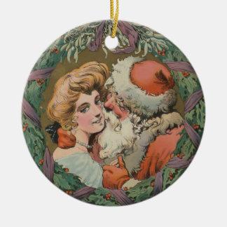 Ornamento De Cerâmica Grinalda de beijo do Natal do papai noel do