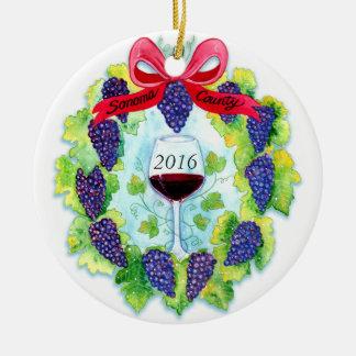 Ornamento De Cerâmica Grinalda do Natal das uvas para vinho de Sonoma