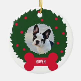 Ornamento De Cerâmica Grinalda do Natal do amante engraçado do cão com