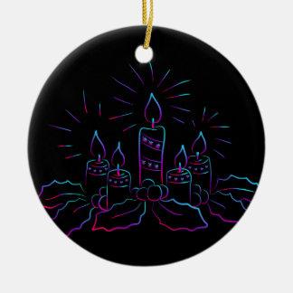 Ornamento De Cerâmica Grinalda elegante do Natal e velas do preto do