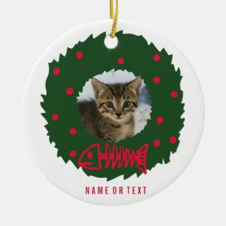Ornamento De Cerâmica Grinalda engraçada do Natal do gato com a foto do