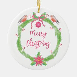 """Ornamento De Cerâmica Grinalda """"Feliz Natal """" do azevinho da aguarela"""