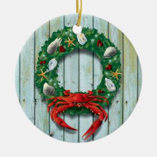 Ornamento De Cerâmica Grinalda litoral do caranguejo do feriado