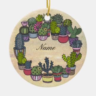 Ornamento De Cerâmica Grinalda personalizada do cacto
