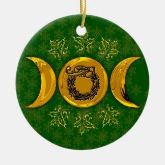 Ornamento De Cerâmica Grinalda tripla #3 da lua & do azevinho