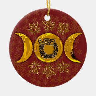 Ornamento De Cerâmica Grinalda tripla #4 da lua & do azevinho