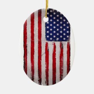 Ornamento De Cerâmica Grunge da bandeira dos EUA